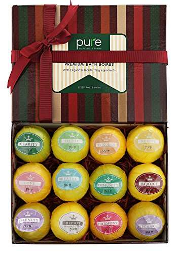 PURE Essential Oil Bath Aromatherapy! 12 Large Bath Bombs. Super-Sized Natural Bath Fizzers with Natural Ingredients, Bath Bombs Gift Kit Spa Gift Box ()