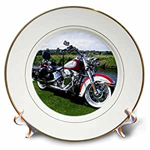 Plate Picturing FLSTC Fat Boy® Motorcycle - 8 inch Porcelain Plate (cp_3178_1)