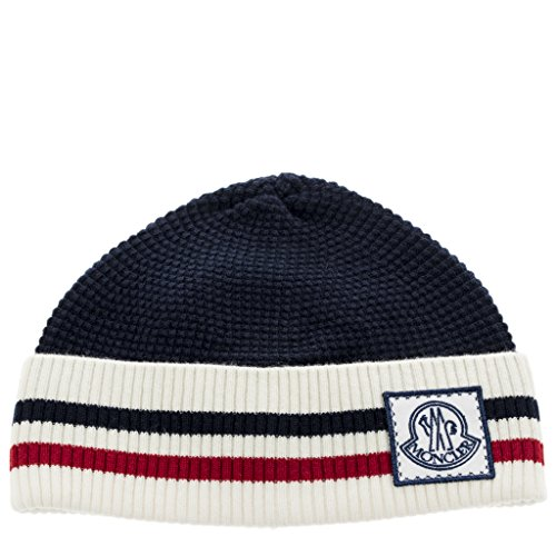 Moncler Unisex Wool Striped Logo Hat Blue by Moncler