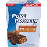 Pure Protein Bars, Healthy Snacks to Support Energy, Chocolate Peanut Butter, 1.76 oz, 6 Count