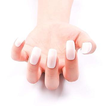 500 uñas postizas naturales francesas uñas puntas cobertura completa larga cuadrada 10 tamaño: Amazon.es: Belleza