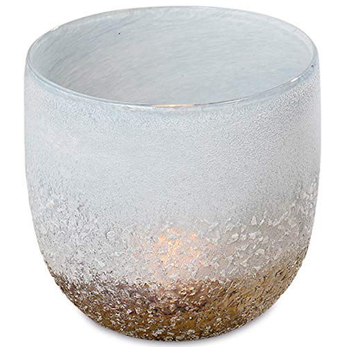 WHW Whole House Worlds Cape Cod Sparkling Sea Hurricane Candle Holder, Art Glass, Iridescent Transitional Tones, Hand Blown Wind Light, Textured Glass, 4 H x 4 D Inches