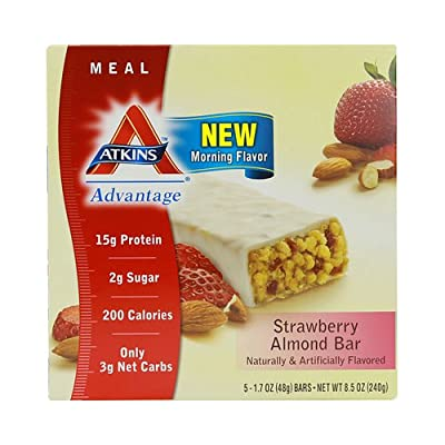 Atkins Advantage Strawberry Almond Meal Bar - 5 Count Bars, 4 Pack