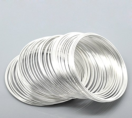 PEPPERLONELY Brand 100 Loop Silver Plated Memory Beading Wire for Bracelet 2 x 2-1/8 Inch ( 50MM-55MM - Memory Wire Plated Silver