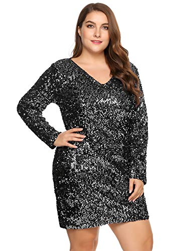 IN'VOLAND Women's Plus Size Glitter V-Neck Long Sleeve Bodycon Sequin Cocktail Party Club Evening Mini Dress(16~24W) Silver