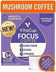VitaCup Focus Mushroom Coffee Pods with Lion's Mane & Chaga, B & D Vitamins for Focus, Immune Supp
