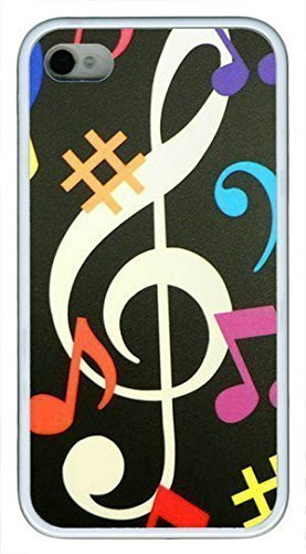 Beautiful cool vintage guitar music notes POP Custom Rubber(TPU) white Cell iphone Case for iphone 4 or iphone 4s by Cell iphone Cases & Mouse Pads 220mm*180mm*3mm