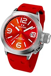TW Steel Canteen Red Dial Red Silicone Mens Watch TW510