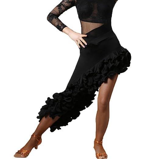 MoLiYanZi Falda Profesional de Baile Latino Falda Espiral de Gama ...