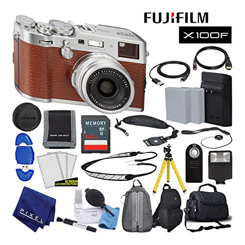 Fujifilm X100F X-Series 24.3 MP Point & Shoot Digital Camera (Brown) with Cleaning Kit, 64GB Card and More Advanced Bundle
