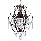 Crystal Mini-Chandelier Pendant Light in Bronze Finish For Sale