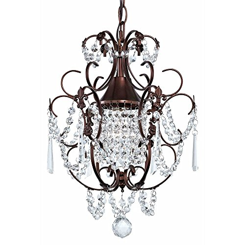 (Crystal Mini Chandelier Pendant Light in Bronze Finish - Mount in Formal Dining Room, Living Room, Kitchen)
