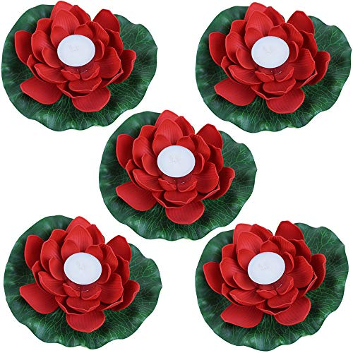 (Just Artifacts 5pc Foam Lotus Floating Water Flower Candle (Color: Red))