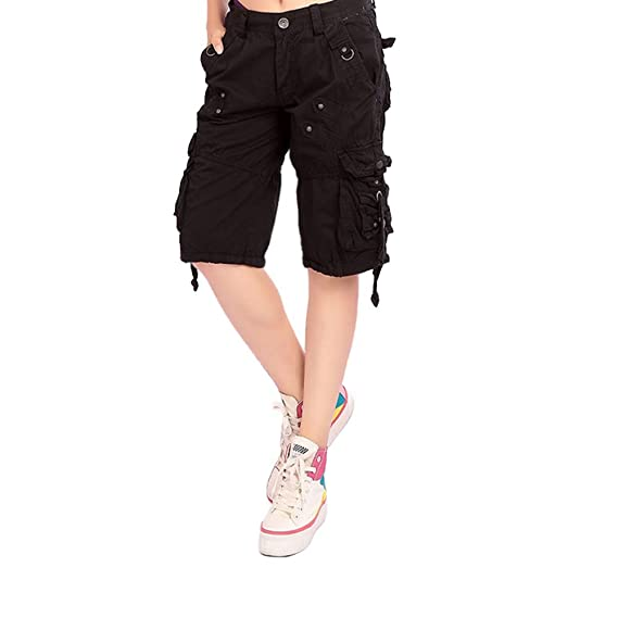 7824604bf87c Feicuan Women Cargo Shorts Cotton Loose Fit Twill Multi Pockets Straight  Pants Black