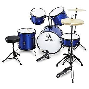 novah 5 piece adult starter drum kit with stool and drum stick full size blue. Black Bedroom Furniture Sets. Home Design Ideas