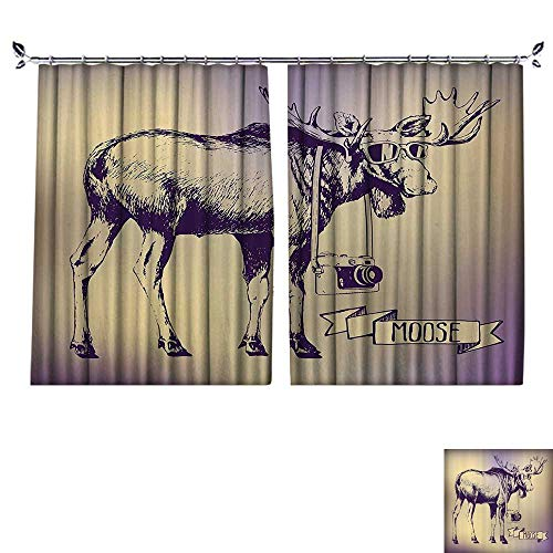 (DESPKON Decoration Polyester Material Hipster Deer with Shades Sunglasses and Camera Vintage Ombre Funny Animal for Children's Room W55 x L39)