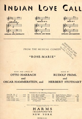 Vintage Sheet Music: INDIAN LOVE CALL from teh Musical
