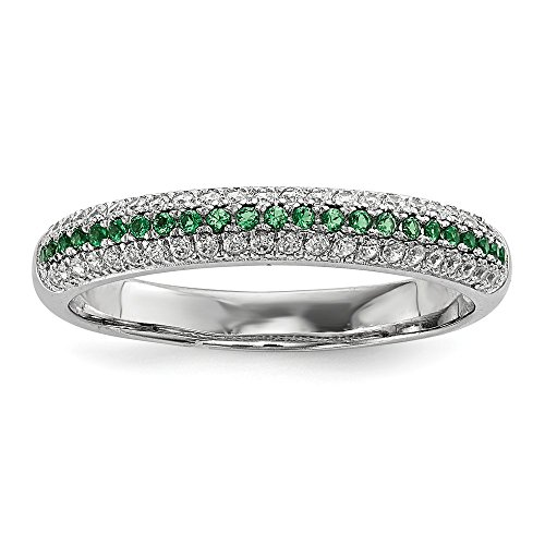925 Sterling Silver Green White Cubic Zirconia Cz Band Ring Size 6.00 Wedding Fancy Fine Jewelry Gifts For Women For Her
