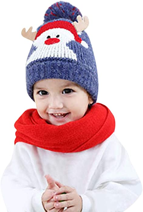 6bb41df666e Moonuy Baby Warm Christmas Hats Baby Kids Beanie for Boys Girls Cap Cotton  Knitted Hats Ball Warm Christmas Hats Children Cartoon Snowman Ball Knit  Warm hat ...