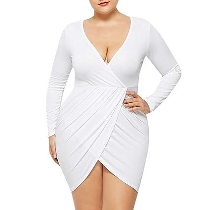 Amazon.com: Womens Casual Dress Plus Size Deep V Neck ...