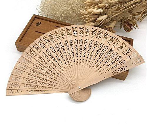 Chinese Japanese Folding Fan Original Wooden Hand Flower Bamboo Asian Pocket Fan Home Decor