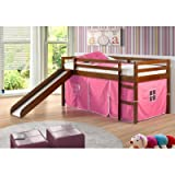 Twin Tent Loft with Slide and Slat-Kits in Light Espresso, Pink Tent