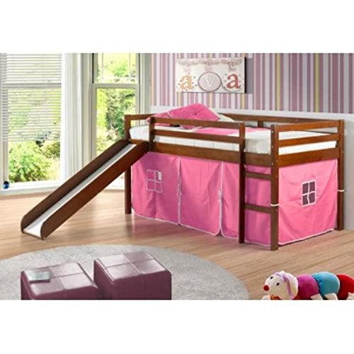 Awesome Twin Tent Loft With Slide And Slat Kits In Light Espresso, Pink Tent. By  Donco Kids