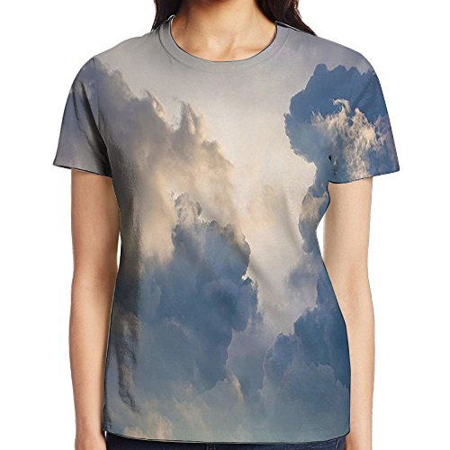 WuLion Majestic Rain Storm Clouds in The Sky High Above The Ground Eco Scenery Women's 3D Print T Shirt M White