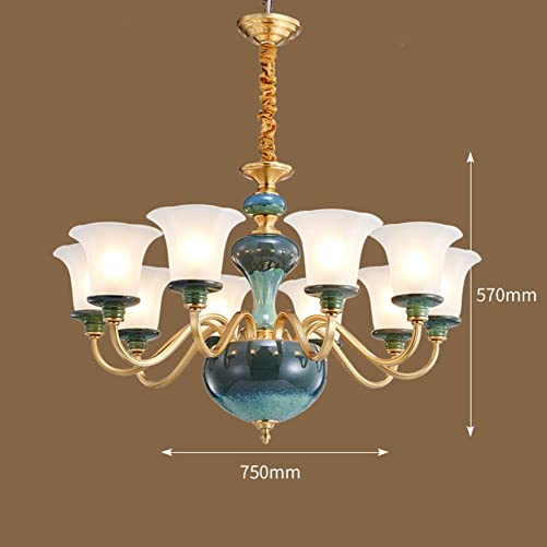 E12 Copper Hanging Lamp, Modern Creative Pendant Lights for Living Room Hall-10-lights