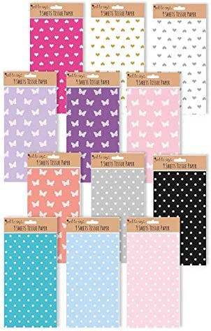 Spots Butterfly Hearts Lots of Colours The Home Fusion Company 9 x Sheets Tissue Paper for Wrapping and Crafting
