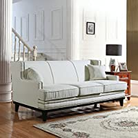 Classic Traditional Linen Sofa w/ Nailhead Trim (Beige)