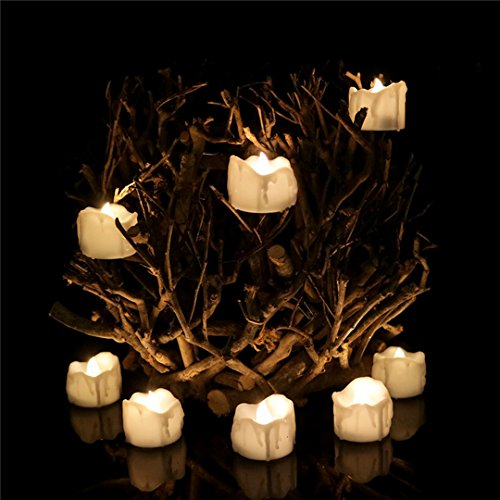 Allcute 24pcs Wax-drip Warm White Timer Electric Tea Light Unscented Battery Operated Plastic Flameless Candles Bulk for Halloween Jack O Lantern Décor ()