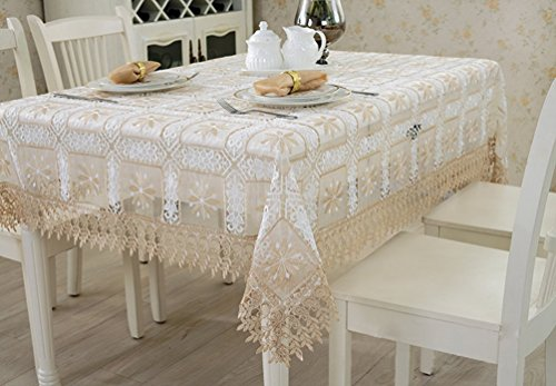 Qxfsmile Embroidered Floral Table Cover Lace Square