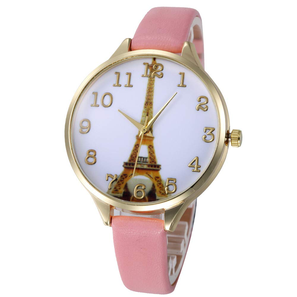 Zaidern Womens Leather Paris Eiffel Tower Watches Unique Analog Quartz Fashion Clearance Lady Watches Female Watches on Sale Casual Wrist Watches for Women Round Dial Case Comfortable Faux Watch