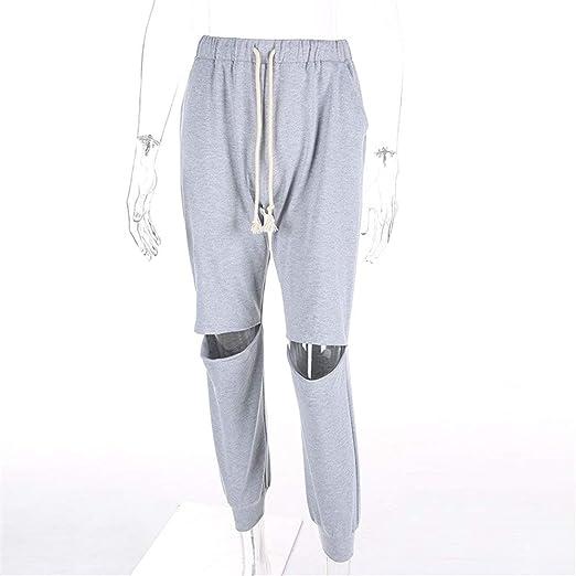 Pantalones casuales de las mujeres Mujeres recortadas Pantalones ...