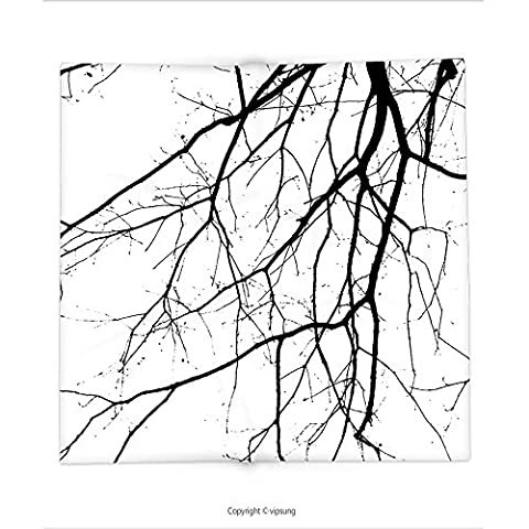 Custom printed Throw Blanket with House Decor Close Up Shot of Leafless Winter Tree Branches Idyllic Twigs of Oak Nature Print Decor Black and White Super soft and Cozy Fleece (Nice Shot Snoopy)