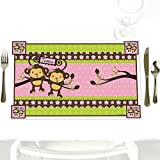 Twin Monkey Girls - Party Table Decorations - Baby Shower or Birthday Party Placemats - Set of 12