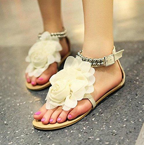 KPHY-Böhmen Sommer Sandalen Dekorativen Schuhe Casual Schuhen Mädchen Koreanische Mädchen Schuhen Studentin Schuhe Weiß b94810