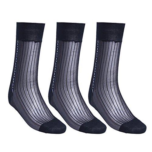 FEESHOW 3 Pairs Men's Summer Thin Silk Socks Over the Cal...