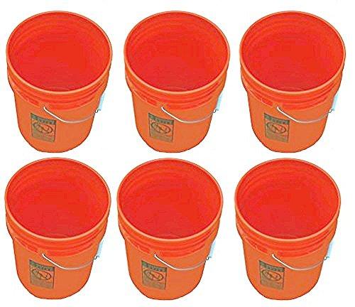 (5 Gallon Buckets Six (6) Pack   Plastic   Orange)