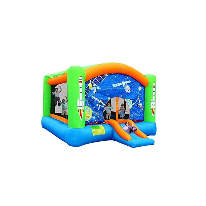 51kiY34nSLL 【For the safety of children】: ------- This castle is an approved children's product certificate and has been tested for CPSC. The jumping area is surrounded by three sides of the mesh safety net to protect your child from falling and jumping. 【PVC material】: ------- This inflatable castle is made of environmentally friendly PVC material, which is wear-resistant, environmentally friendly, non-toxic, non-odorous, with a thick, non-slip bottom design that increases elasticity and makes children love sports. 【Bounce floor】: ------- The inflatable castle super-elastic floor gives more bounce freedom. The sturdy mesh housing and large support posts provide a secure and stable base for more bouncing fun.