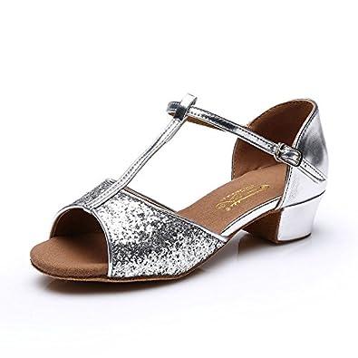 YFF Kinder Latin Dance Schuhe wirtschaftliche Schuhe Ballsaal Salsa Tango, Schwarz, 11.