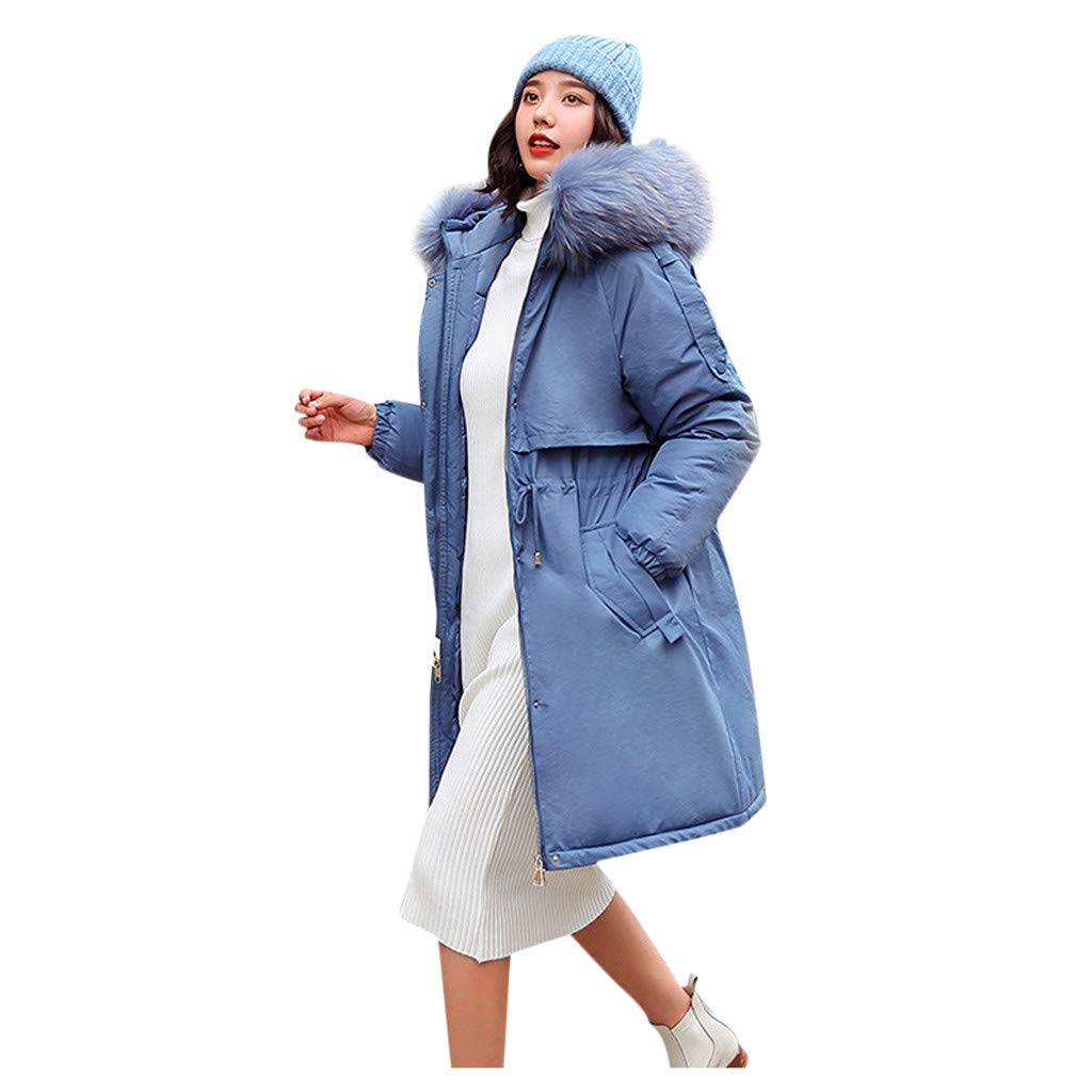 Fashionhe Women Outerwear Faux Hooded Button Coat Long Solid Color Jackets Pocket Coats Warm Overcoat(Blue.L) by Fashionhe