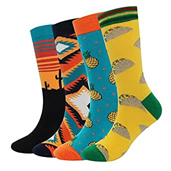 99ea85f8defbd Men's Cool Colorful Casual Socks - Novelty Funny Casual Combed ...