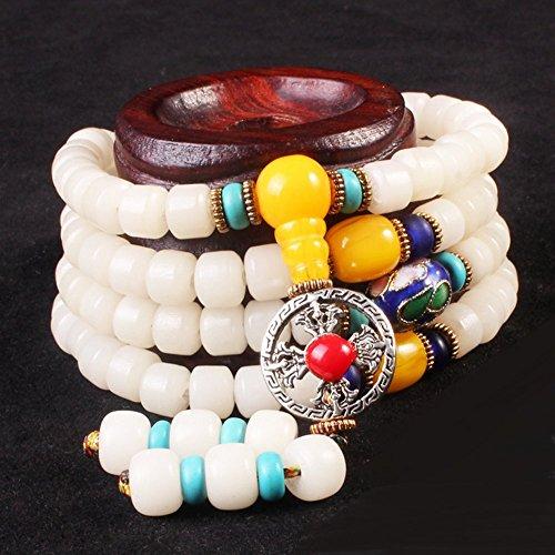 Winter's Secret Hangmade Tibet Vintage Beads Bodhi Ceramic Flower Amulet Silver Cross Pendant Bracelet
