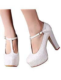 Getmorebeauty Women Block Mary Janes T-STRAPPY Lace Dress Wedding Shoes