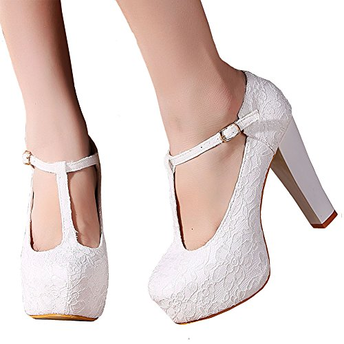 Getmorebeauty Women White Block Mary Janes T-STRAPPY Lace Dress Wedding Shoes 7.5 B(M) US