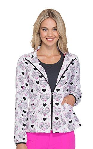 (HeartSoul Women's Zip Up Pink Ribbon Heart Print Scrub Jacket X-Small Print)