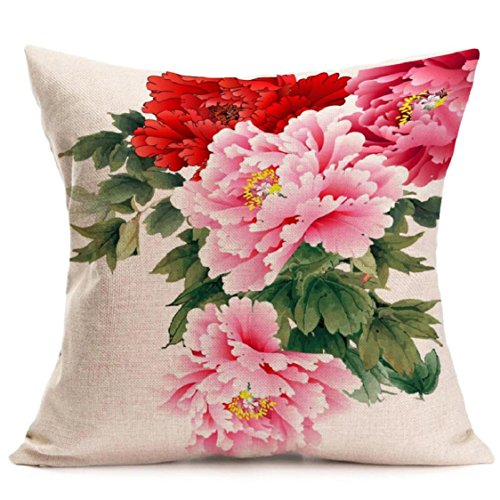 Ikevan Hot Selling Pillowcase Chinoiserie Peony Sofa Bed Home Decoration Festival Pillow Case Cushion Cover 18x18 Inch (08) (Sequins Peony)