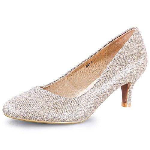 IDIFU Women's RO2 Basic Round Toe Mid Heel Pump Shoes (Gold Glitter, 5 B(M) US) (Basic Glitter)